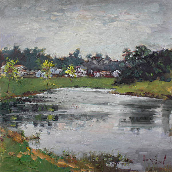 Lake House Painting - Minutes Before Raining by Ylli Haruni