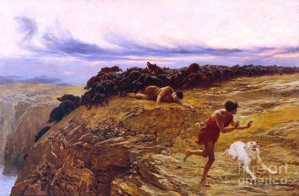 Riviere Painting - Miracle Of The Gaderene Swine by Pg Reproductions
