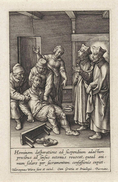 Healing Drawing - Miraculous Healing By Ignatius Loyola Of A Man Who Hanged by Hieronymus Wierix
