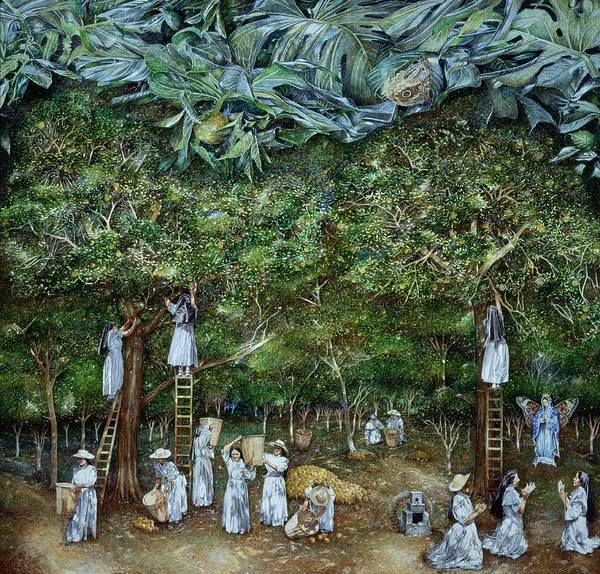 Serpent Photograph - Miraculous Vision Of The Virgin In The Orange Orchard, 1996 Oil On Canvas by James Reeve