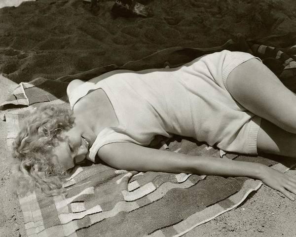 Photograph - Miriam Hopkins At The Beach by Edward Steichen
