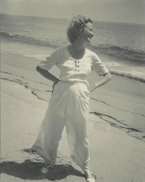 Photograph - Miriam Hopkins On A Beach by Edward Steichen