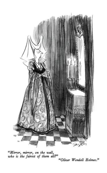 Supreme Court Drawing - Mirror, Mirror, On The Wall, Who Is The Fairest by Charles Saxon
