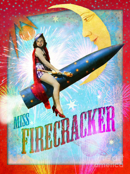 Aimee Stewart Wall Art - Digital Art - Miss Fire Cracker by MGL Meiklejohn Graphics Licensing