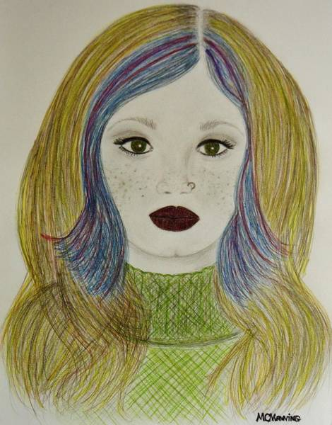 Freckle Drawing - Miss Independent by Celeste Manning