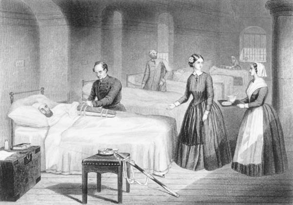 Print Drawing - Miss Nightingale In The Hospital by Robert Neal Hind