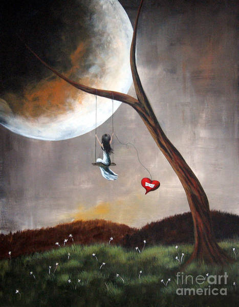 Shawna Wall Art - Painting - Original Surreal Artwork Girl On Swing by Erback Art