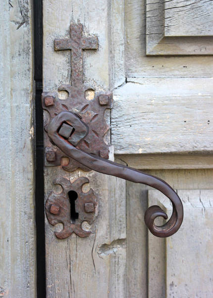 Wall Art - Photograph - Mission Concepcion Door Handle by Mary Bedy