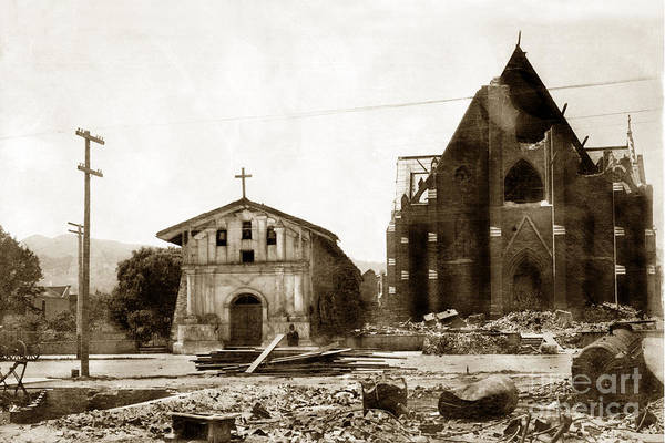 Photograph - Mission Dolores San Francisco Earthquake And Fire Of April 18 1906 by California Views Archives Mr Pat Hathaway Archives