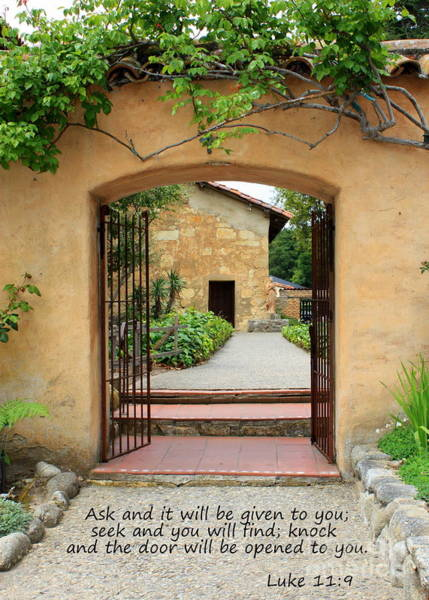 Carmel Mission Photograph - Mission Door With Scripture by Carol Groenen