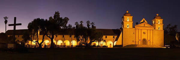Mission Santa Barbara Photograph - Mission Lit Up At Night, Mission Santa by Panoramic Images