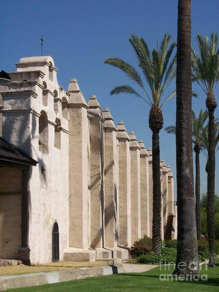 San Gabriel Mission Photograph - Mission Palms by Kimberly-Ann Talbert