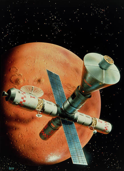 Station To Station Photograph - Mission To Mars Art by David A. Hardy/science Photo Library