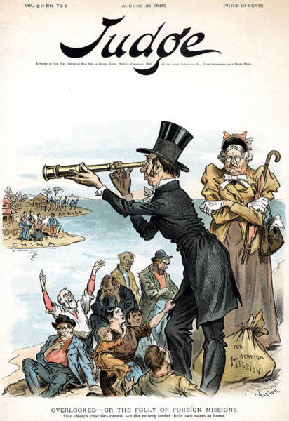 Political Cartoon Painting - Missionary Cartoon, 1895 by Granger