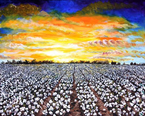 Cotton Painting - Mississippi Delta Cotton Field Sunset by Karl Wagner