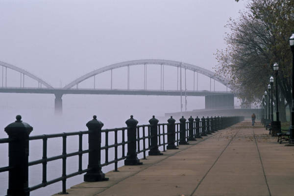 Centennial Bridge Photograph - Mississippi Fog by Heidi Brandt