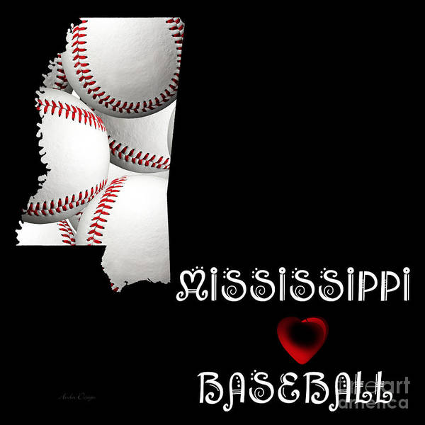 Digital Art - Mississippi Loves Baseball by Andee Design