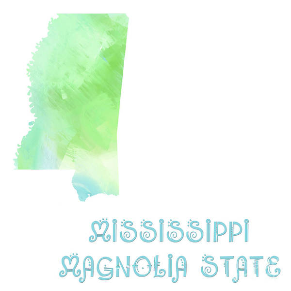 Digital Art - Mississippi - Magnolia State - Map - State Phrase - Geology by Andee Design