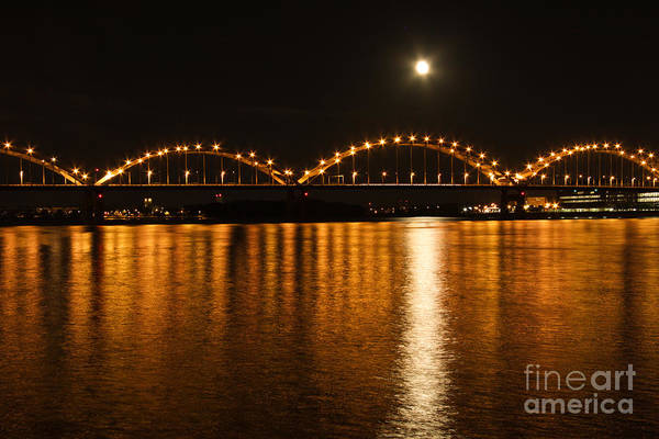 Centennial Bridge Photograph - Mississippi Moonrise by Heidi Brandt