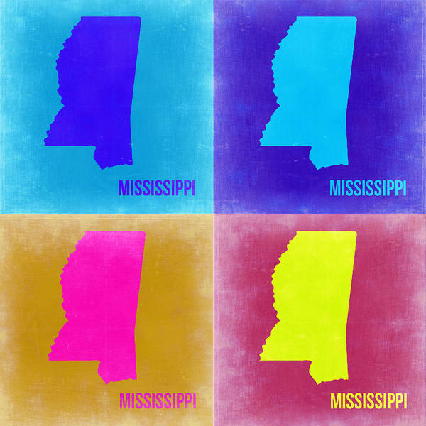 Wall Art - Painting - Mississippi Pop Art Map 2 by Naxart Studio