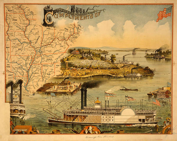 Mississippi River Drawing - Mississippi River Steamboat  Executed By The Heliotype by Litz Collection