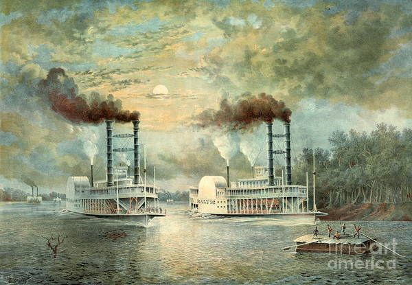 Raft Wall Art - Photograph - Mississippi Steamboat Race 1859 by Padre Art