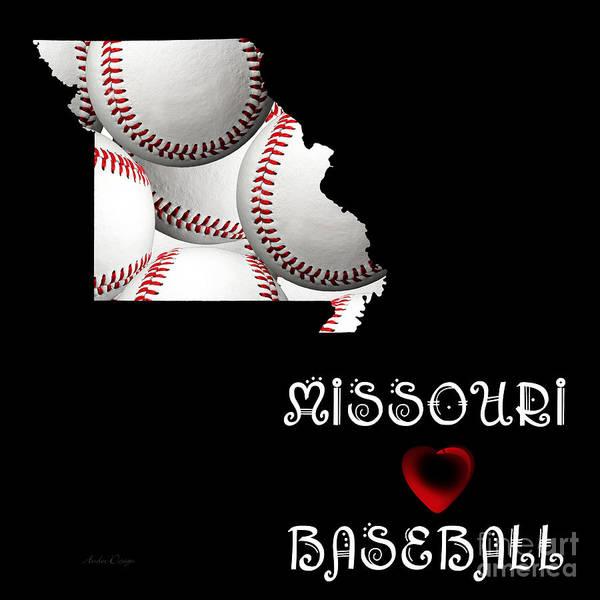 Digital Art - Missouri Loves Baseball by Andee Design
