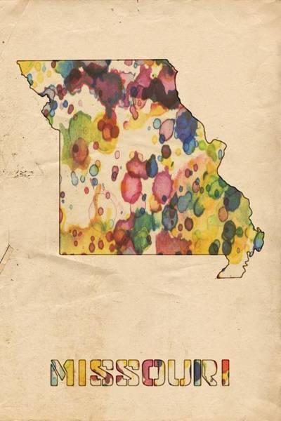 Painting - Missouri Map Vintage Watercolor by Florian Rodarte