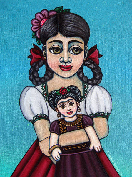 Latina Painting - Missy Holding Frida by Victoria De Almeida