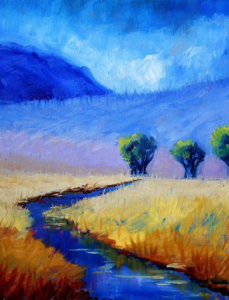 Prairie Grass Painting - Mist In The Mountains by Nancy Merkle