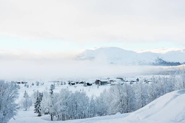 Lillehammer Photograph - Mist Over Village In Snow, Norway by Betsie Van Der Meer