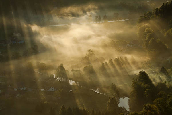 Sunbeam Photograph - Mist,light And Silence. by Artistname