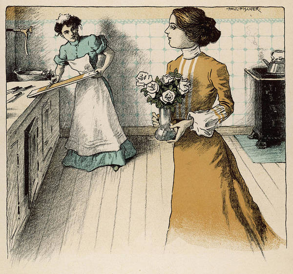 Wall Art - Drawing - Mistress And Maid In The  Kitchen by Mary Evans Picture Library