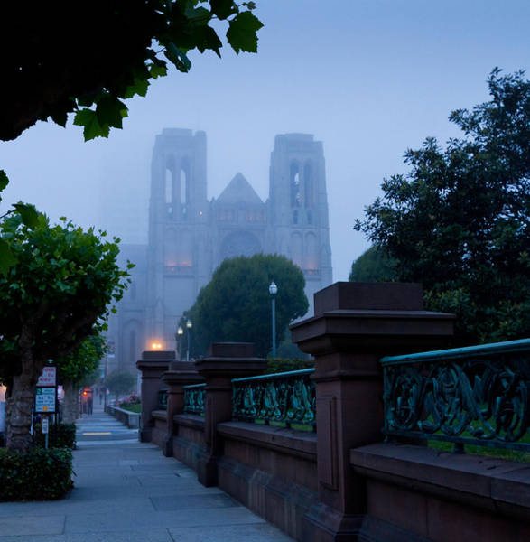 Grace Cathedral Photograph - Misty Blues by Jenny Setchell