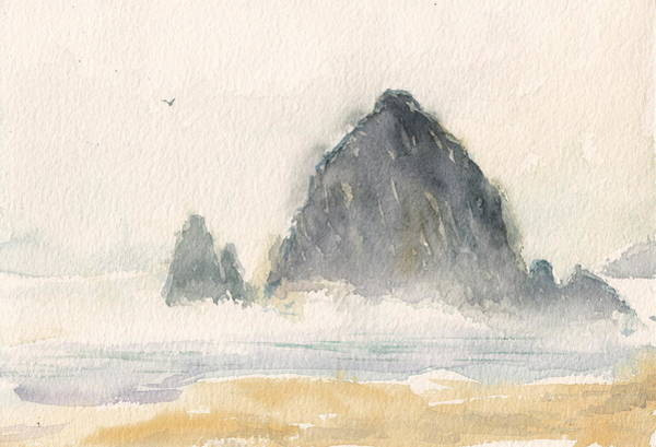 Cannon Beach Painting - Misty Day by Alaskan Raven Studio