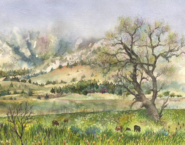 Colorado Wall Art - Painting - Misty Flatirons by Anne Gifford
