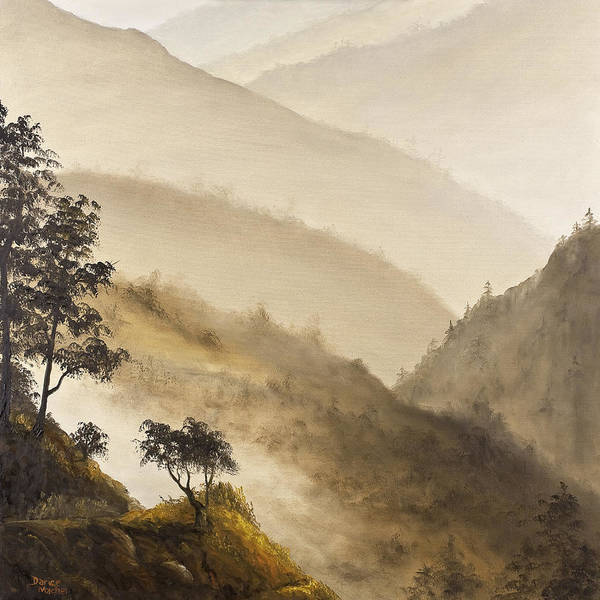 Foothills Wall Art - Painting - Misty Hills by Darice Machel McGuire