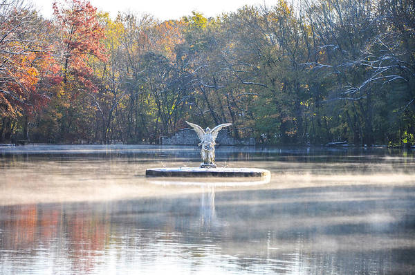 Photograph - Misty Lake Angel by Bill Cannon