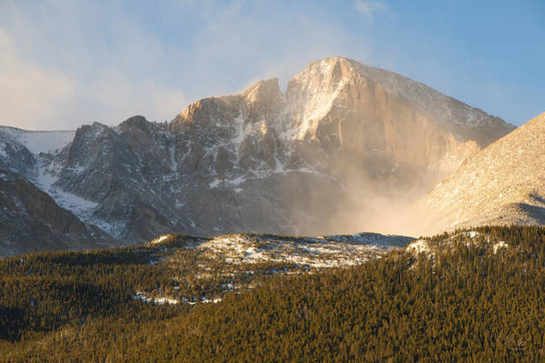 Fourteener Photograph - Misty Longs Peak by Aaron Spong