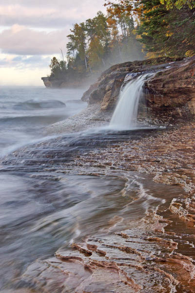 Photograph - Misty Morning At Pictured Rocks by Leda Robertson