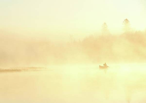 Canoe Photograph - Misty Morning Canoe by Peter Bowers