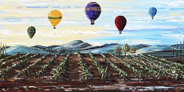 Wall Art - Painting - Misty Morning -hot Air Balloons Over Vineyard by Christine Bell