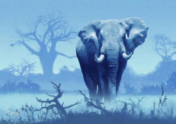 Lone Digital Art - Misty Blue Morning In The Tsavo by Anthony Mwangi