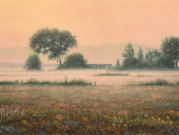 Foggy Wall Art - Painting - Misty Morning by James W Johnson