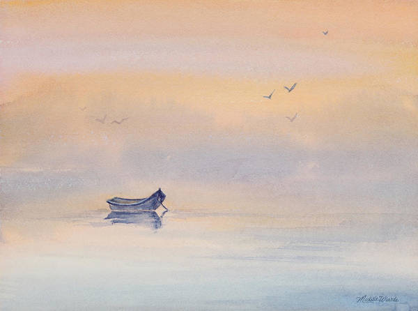 Misty Morning Peace Watercolor Painting Art Print