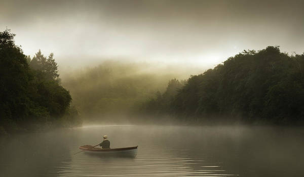 Exploration Photograph - Misty Morning Row On A Forested River by Justin Lewis