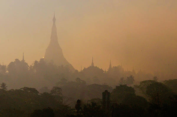 Jim Temple Photograph - Misty Morning Shwedagon by Jim Simmen
