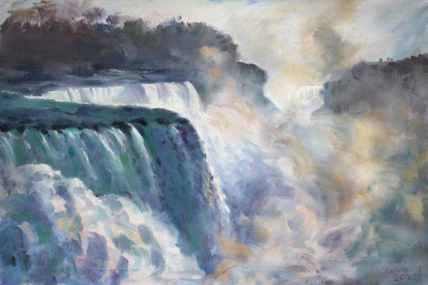 Misty Wall Art - Painting - Misty Niagara Falls by Ylli Haruni