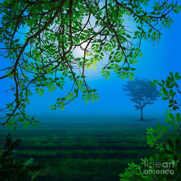 Grass Tree Digital Art - Misty Night by Peter Awax