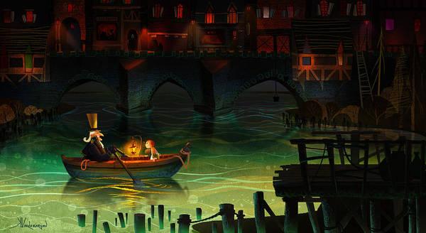 Lake Painting - Misty Night by Kristina Vardazaryan